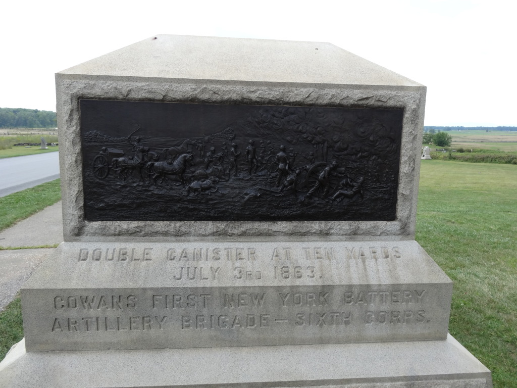 A monument to the neighboring 1st New York Battery Artillery speaks to the violence seen at the Angle, double canister fired into Confederate lines at 10 yards.