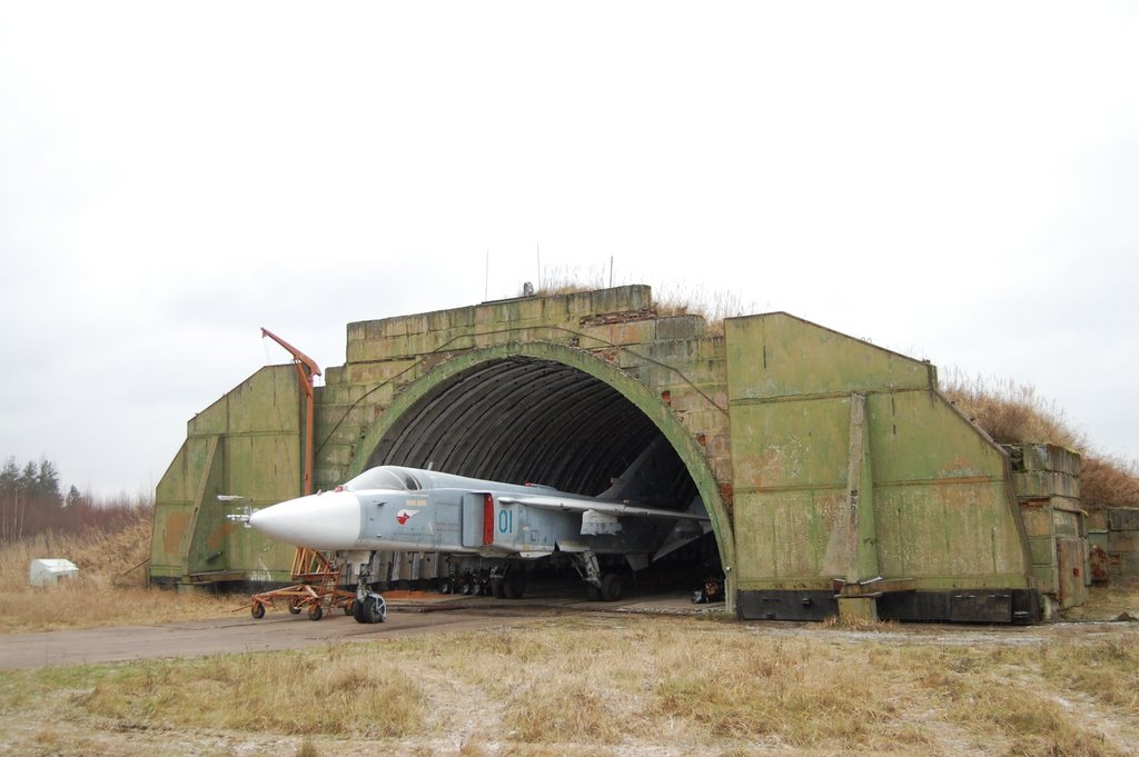 A Russian SU-24 slightly pulled out of its storage bunker. The Russian Air Force has upwards of 500 SU-24 Fencer's sitting in secure storage sites like this around Russia. Photo by P.King via Photorama