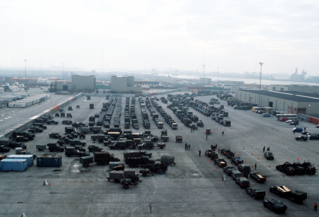 Elements of a U.S. Armored Division is unloaded at a port in Europe to participate in Exercise Reforger 1990. National Archives Photo