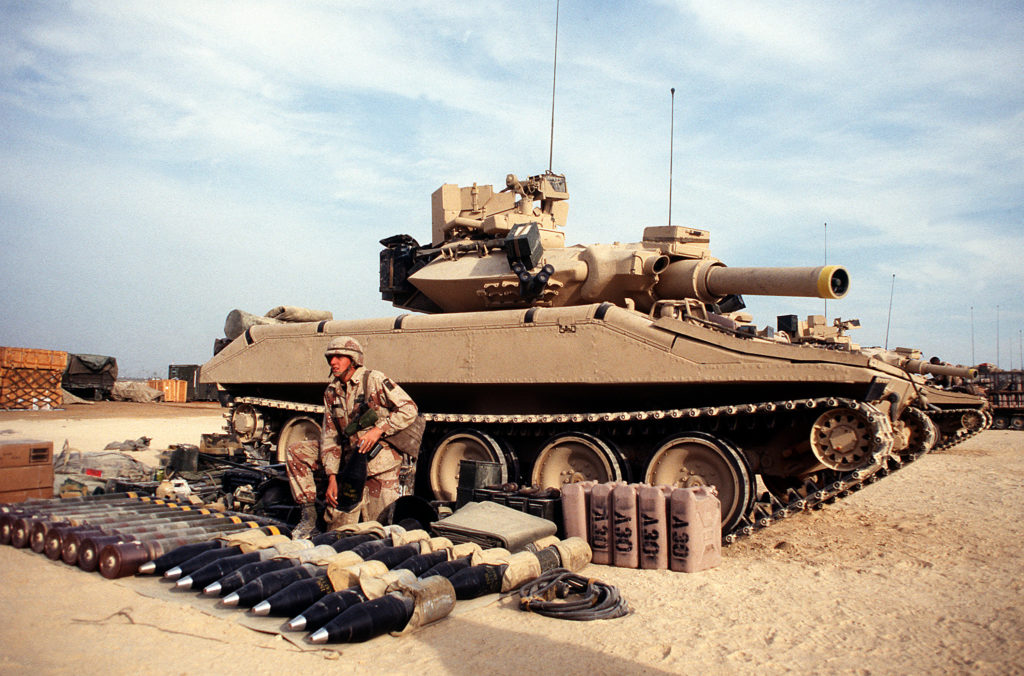 An M551 Sheridan Light tank preparing to be forward deployed for a live fire exercise in Saudi Arabia during Operation Desert Shield in December 1990. Arrayed around the tank is 20 x 152mm ammunition, 8 x MGM-51 Shillelagh anti-tank missiles, several thousand rounds of .50 cal and 7.62mm machine gun ammunition, 25 gallons of drinking water, three cases of meals ready to eat (MRE) totaling 36 meals for nine days of rations for the crew, two large tarps with framing , and radio gear for establishing a radio post. All of this equipment would be loaded onto the M551 Sheridan light tank before it deployed for combat operations. National Archives photo 6471195